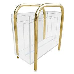 Brass and Lucite Magazine Holder by Charles Hollis Jones