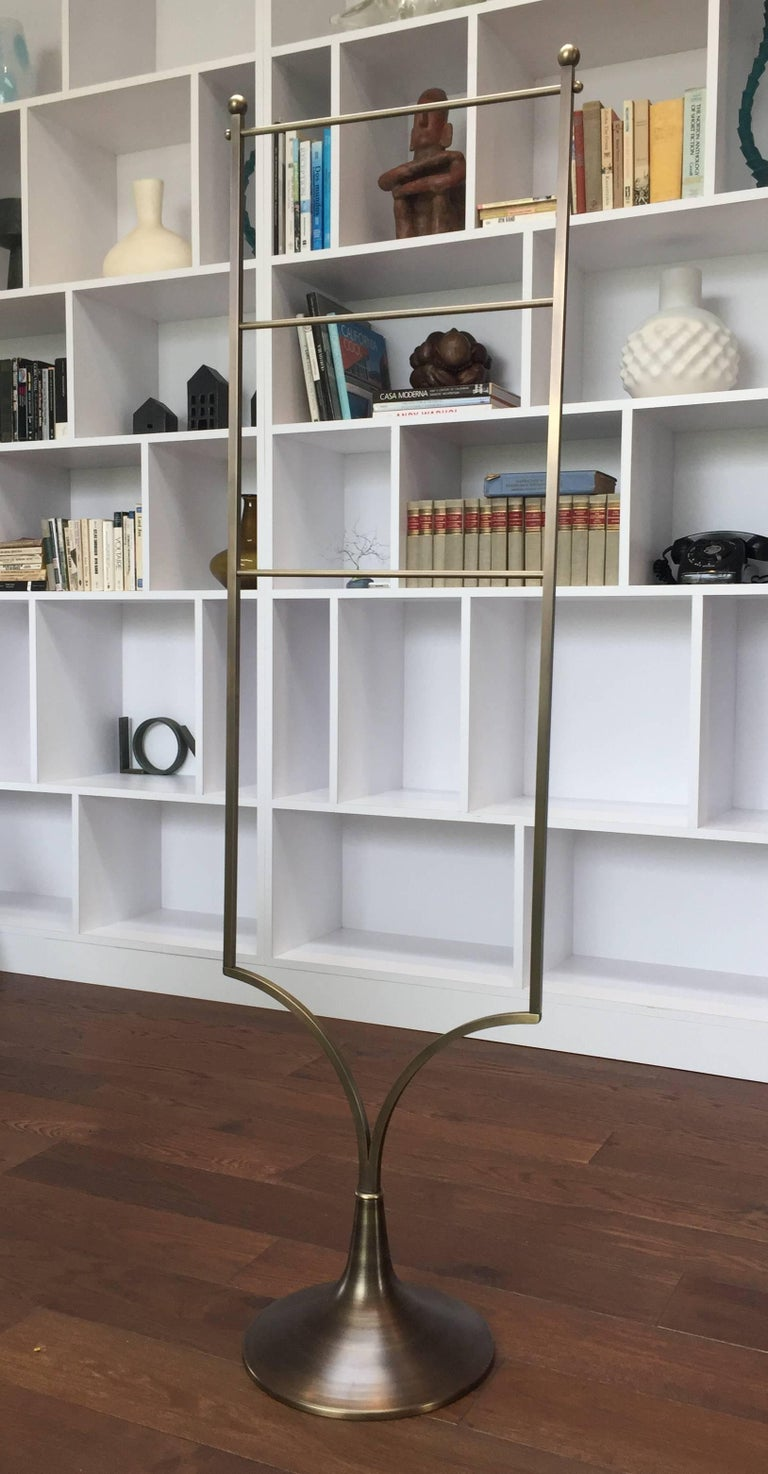 Lader Back Towel Rack in Solid Brass by Charles Hollis Jones for Lucille Ball For Sale 1