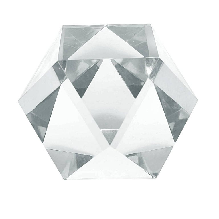 Stunning and beautiful Lucite sculpture by Amparo Calderon Tapia. The piece is beautifully crafted, the faceted cuts makes this piece shine like a diamond when the light hits it, the piece is also unusually large which is wonderful to be used as a