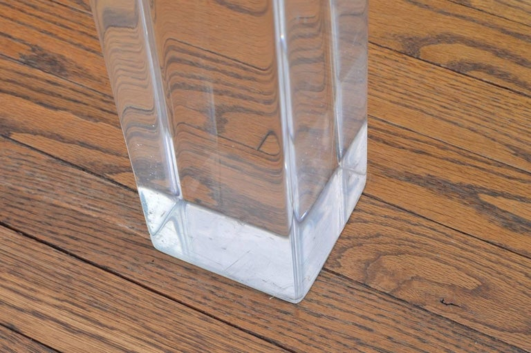 Mid-Century Modern Vintage Lucite and Polished Nickel Coffee Table with Glass Top For Sale