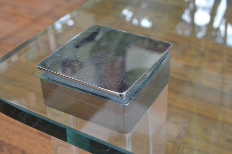 American Vintage Lucite and Polished Nickel Coffee Table with Glass Top For Sale