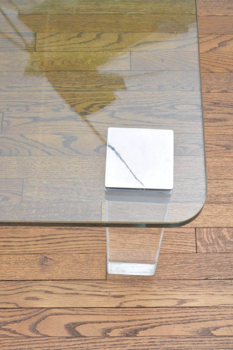 Vintage Lucite and Polished Nickel Coffee Table with Glass Top In Fair Condition For Sale In Los Angeles, CA