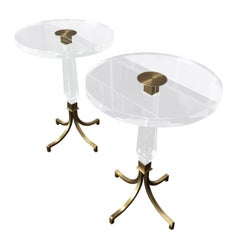 Custom Regency Style Lucite and Brass Side Tables by Charles Hollis Jones