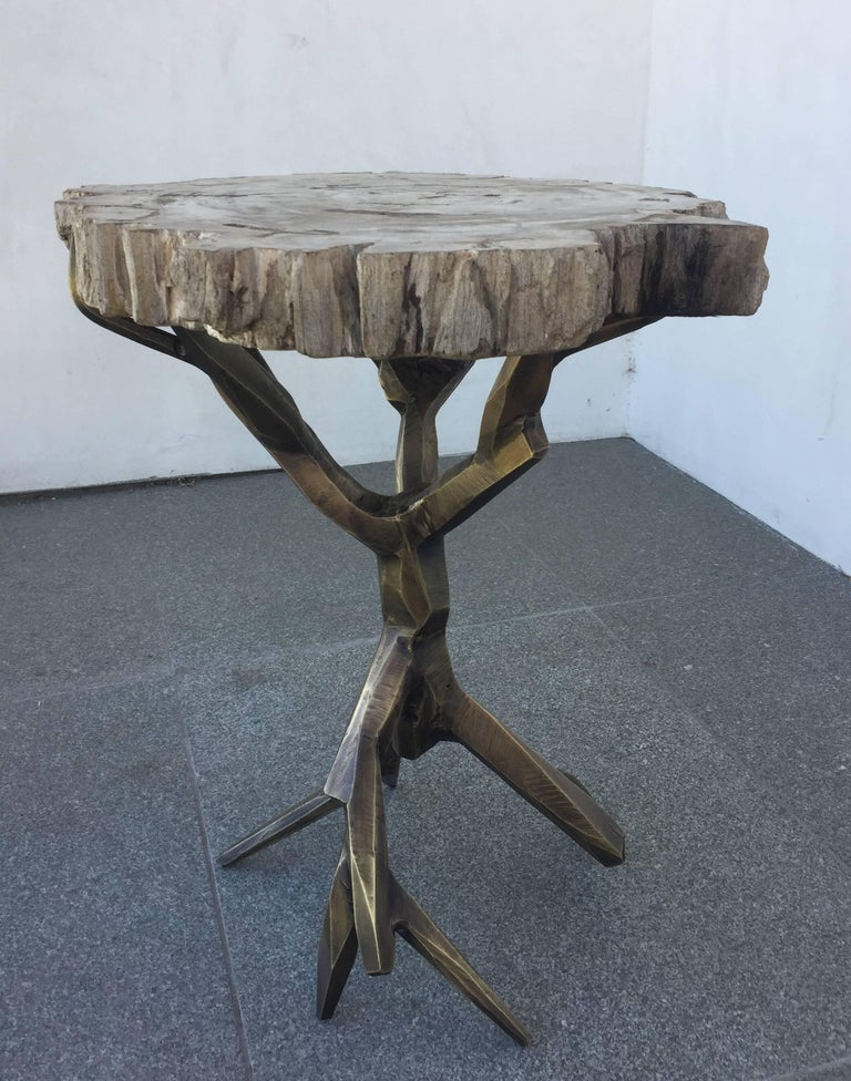 Brass One of a Kind Bronzed Side Table by Amparo Calderon Tapia For Sale