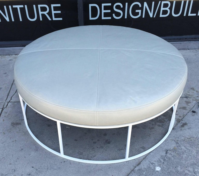 Astounding Stunning Custom Designed Round Ottoman With White Lacquered Base And Leather Top Gmtry Best Dining Table And Chair Ideas Images Gmtryco
