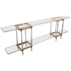"Charles Hollis Jones ""Metric"" Console Table in Lucite and Brass"