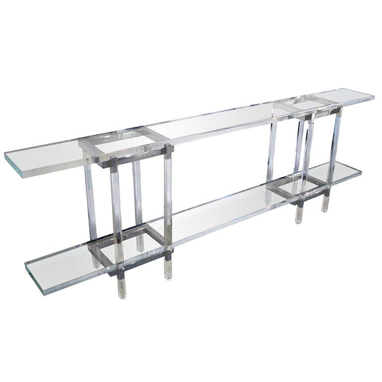 Console Table in Nickel and Lucite by Charles Hollis Jones For Sale