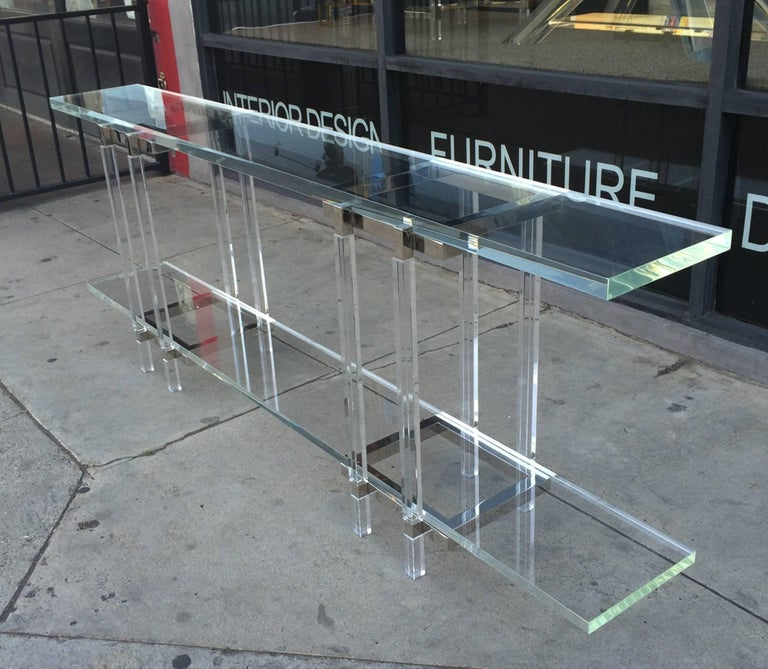 Mid-Century Modern Console Table in Nickel and Lucite by Charles Hollis Jones For Sale