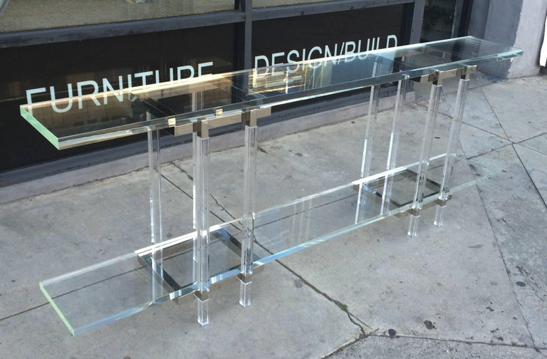American Console Table in Nickel and Lucite by Charles Hollis Jones For Sale