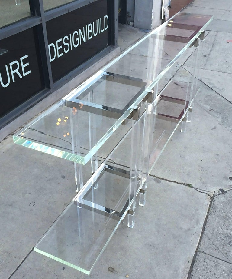 Console Table in Nickel and Lucite by Charles Hollis Jones In Excellent Condition For Sale In West Hollywood, CA