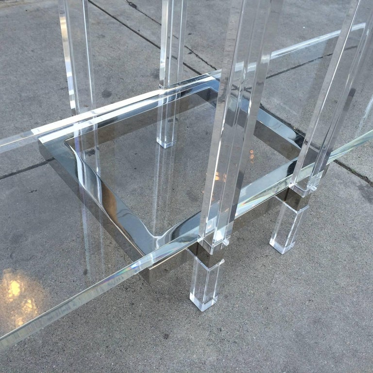 Console Table in Nickel and Lucite by Charles Hollis Jones For Sale 2