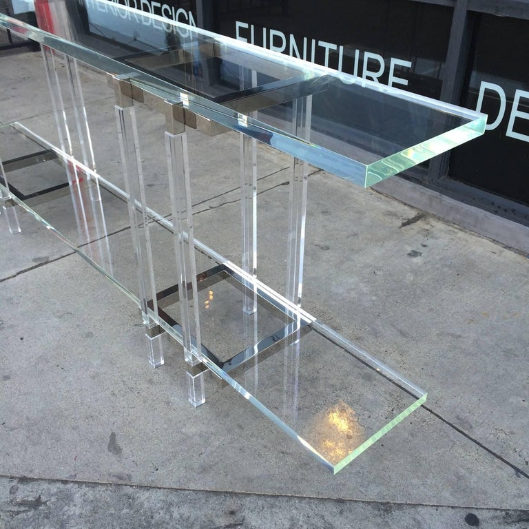 Console Table in Nickel and Lucite by Charles Hollis Jones For Sale 3
