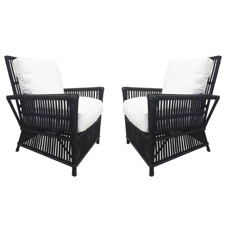 Wicker or Bamboo Patio Chairs and Ottomans Upholstered in White Canvas For Sale