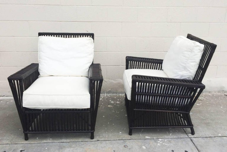 Mid-Century Modern Wicker or Bamboo Patio Chairs and Ottomans Upholstered in White Canvas For Sale