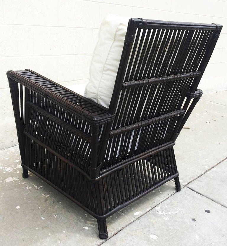Wicker or Bamboo Patio Chairs and Ottomans Upholstered in White Canvas In Excellent Condition For Sale In West Hollywood, CA