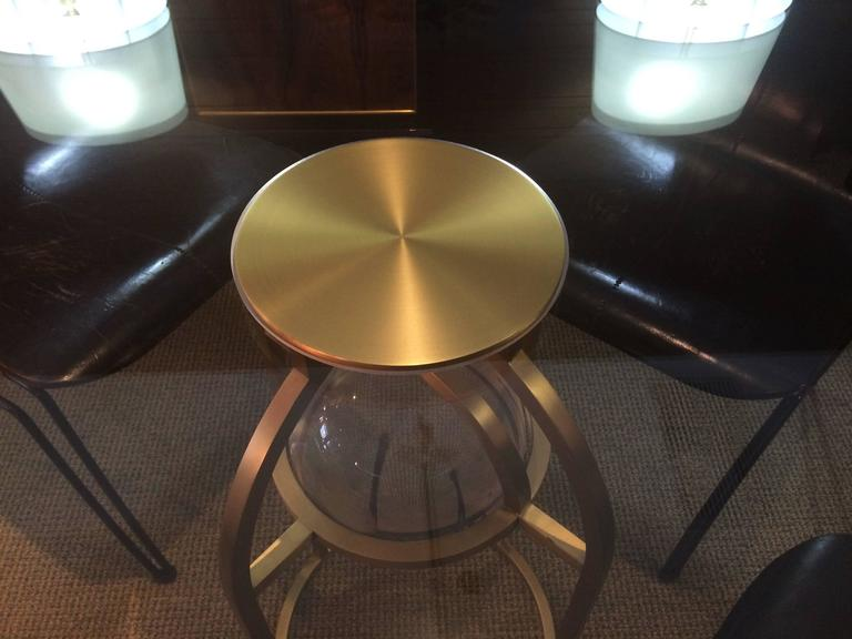 "Charles Hollis Jones ""Bullet"" Dining or Center Table in Solid Brass and Lucite 7"