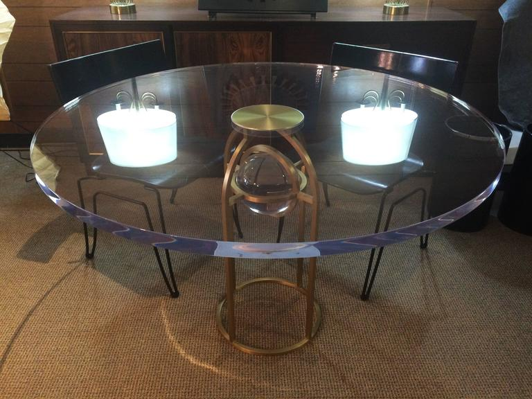 "Charles Hollis Jones ""Bullet"" Dining or Center Table in Solid Brass and Lucite 3"