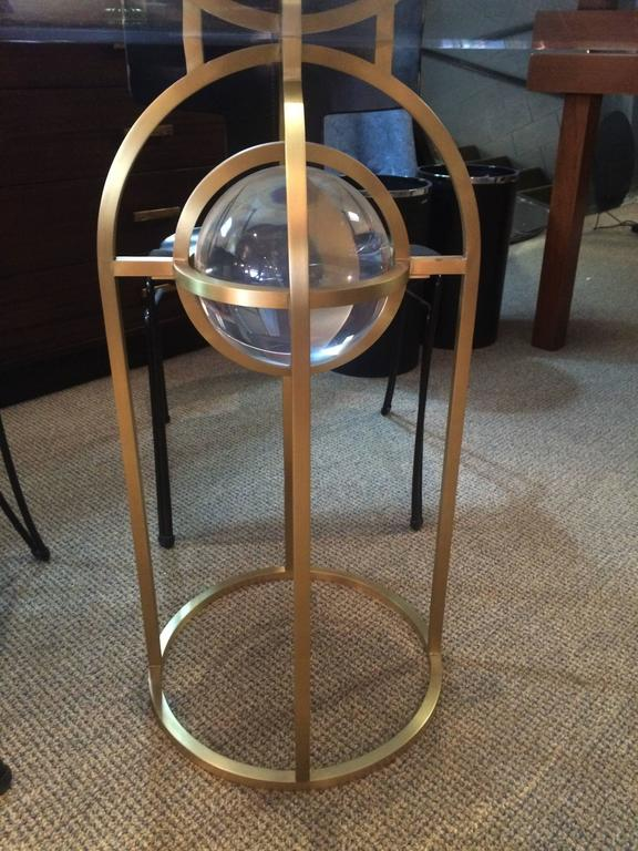 "Charles Hollis Jones ""Bullet"" Dining or Center Table in Solid Brass and Lucite 5"
