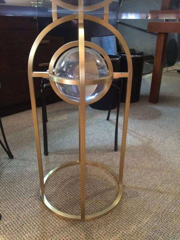 "Charles Hollis Jones ""Bullet"" Dining or Center Table in Solid Brass and Lucite 4"