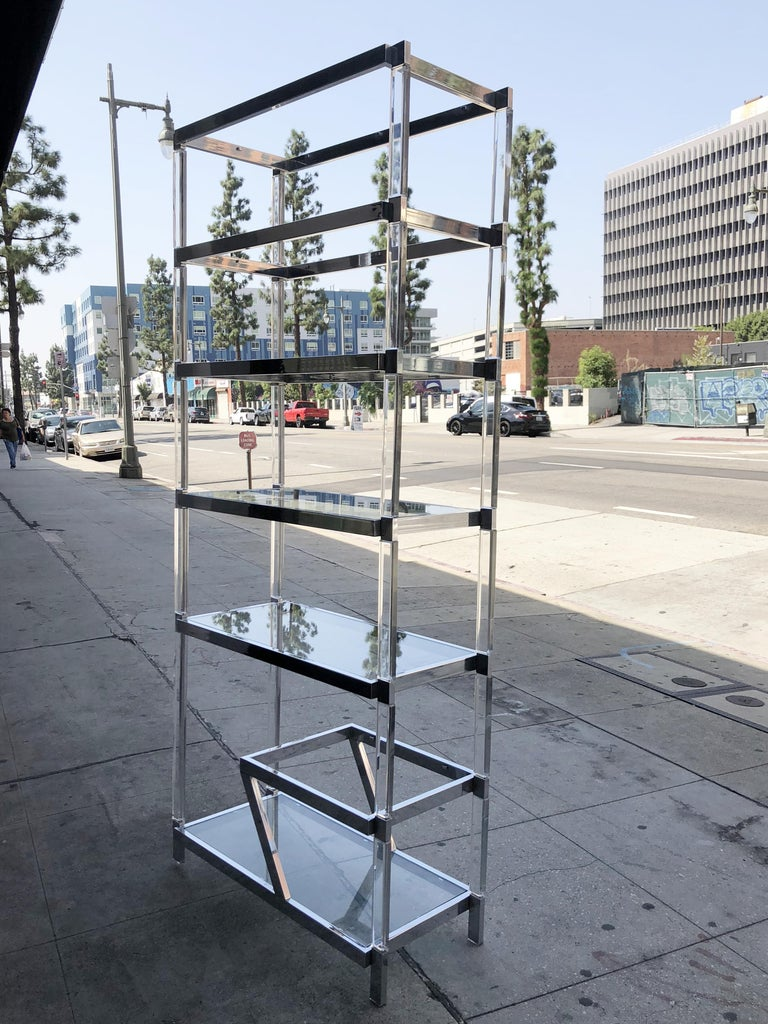 Plated Custom Lucite and Chrome Étagère by Charles Hollis Jones For Sale