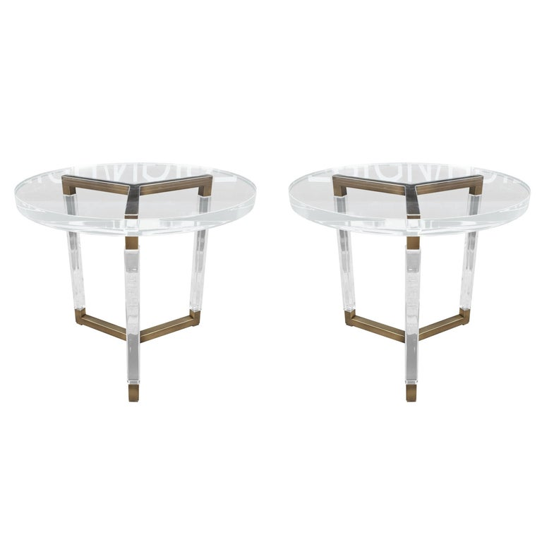 """Charles Hollis Jones Solid Brass and Lucite Side Tables """"Metric Collection"""" For Sale"""