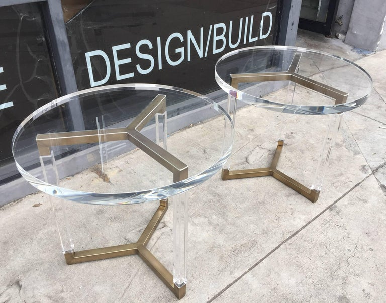 Mid-Century Modern Charles Hollis Jones Solid Brass and Lucite Side Tables