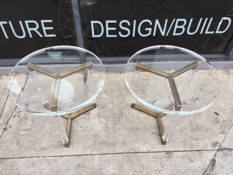 American Charles Hollis Jones Solid Brass and Lucite Side Tables