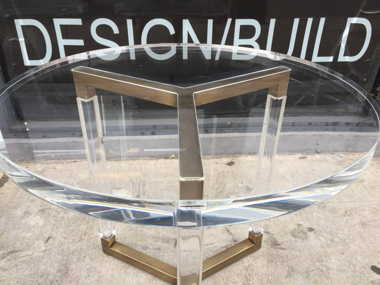 20th Century Charles Hollis Jones Solid Brass and Lucite Side Tables