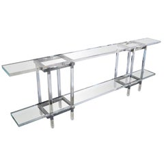 Console Table in Nickel and Lucite by Charles Hollis Jones