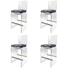 "Charles Hollis Jones ""Waterfall"" Counter Stools in Lucite and Stainless Steel"