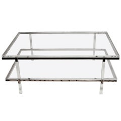 Lucite and Nickel Two-Level Coffee Table by Charles Hollis Jones