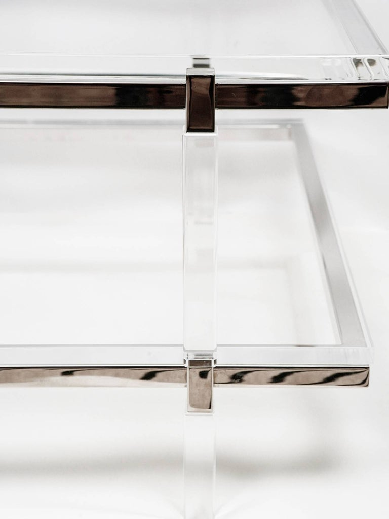 Mid-Century Modern Lucite and Nickel Two-Level Coffee Table by Charles Hollis Jones For Sale