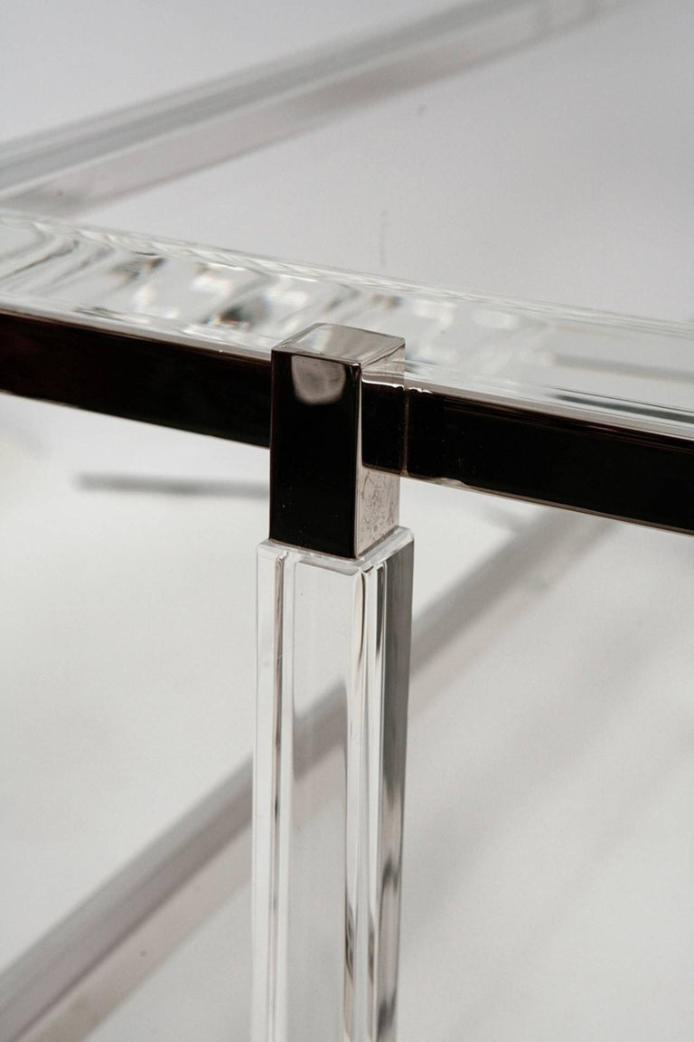 American Lucite and Nickel Two-Level Coffee Table by Charles Hollis Jones For Sale