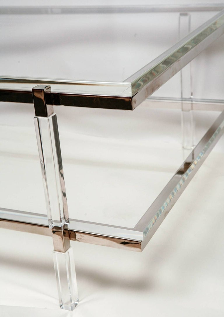 Lucite and Nickel Two-Level Coffee Table by Charles Hollis Jones In Excellent Condition For Sale In West Hollywood, CA