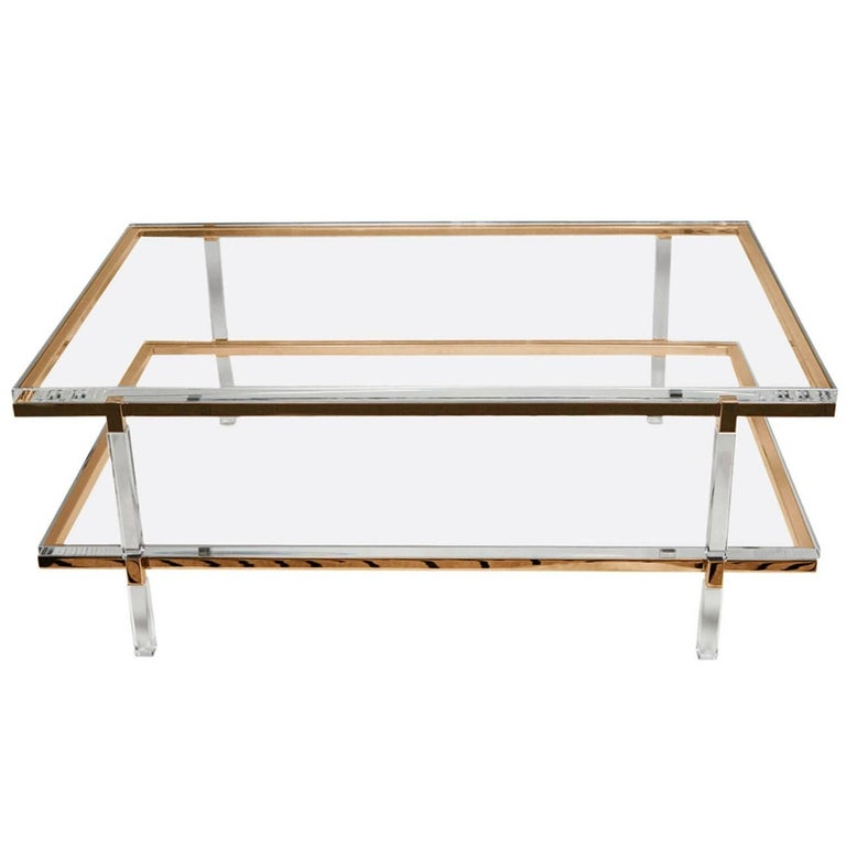 Two level coffee or cocktail table designed and manufactured by the icon of Lucite Charles Hollis Jones as part of the Metric collection designed in the 1960s.