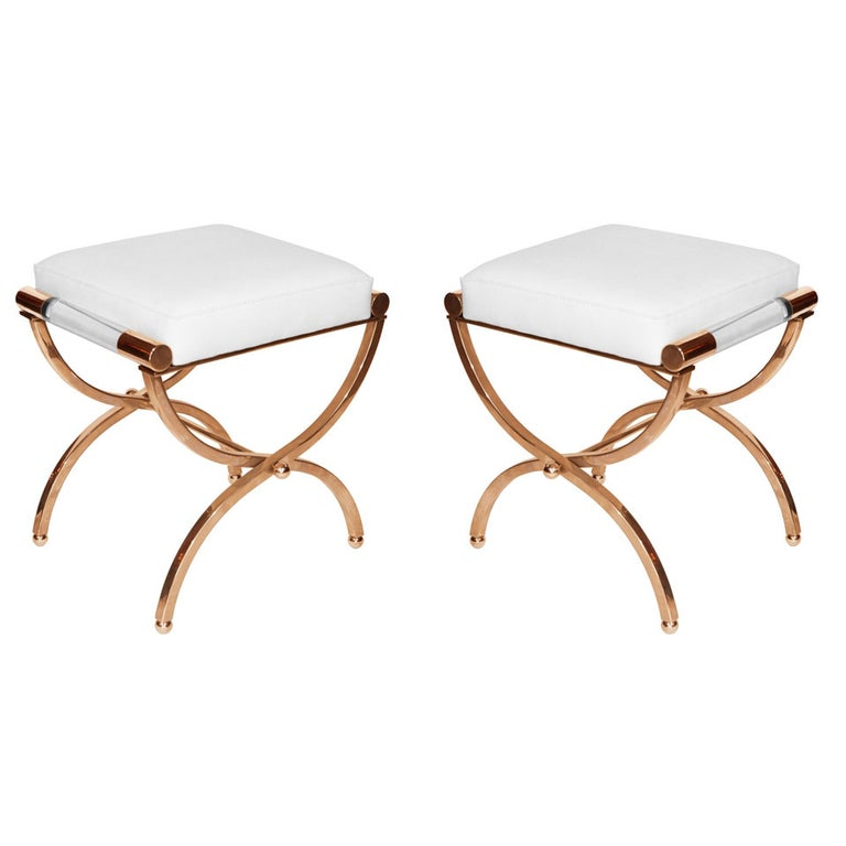 """Charles Hollis Jones """"Empire"""" Style Pair of Benches in Solid Brass and Naugahyde For Sale"""
