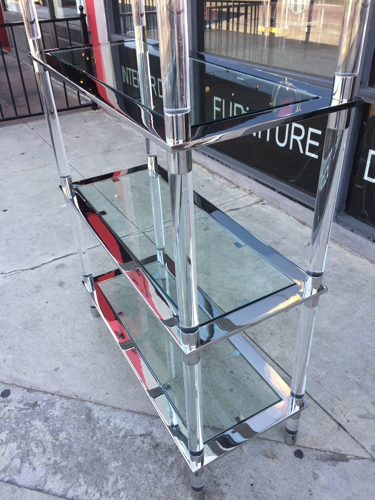 Lucite & Stainless Steel Etagere By Amparo Calderon Tapia For Sale 2