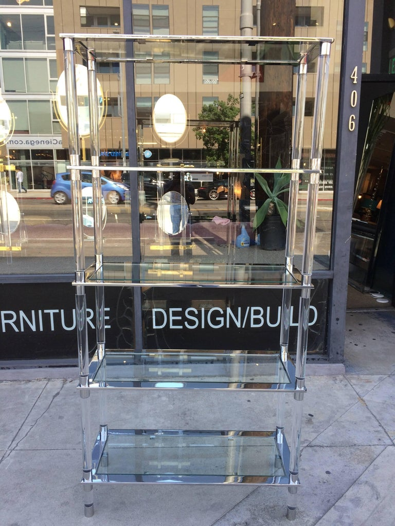 American Lucite & Stainless Steel Etagere By Amparo Calderon Tapia For Sale