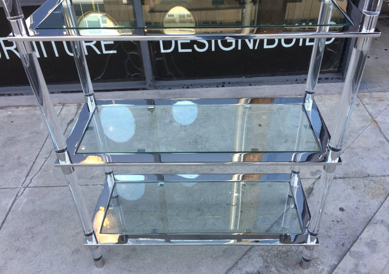 Lucite & Stainless Steel Etagere By Amparo Calderon Tapia For Sale 3