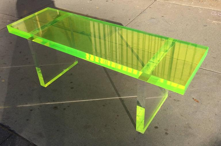 American Lime Green Lucite Bench by Cain Modern For Sale
