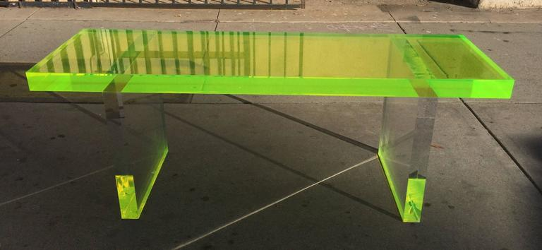"Stunning 2"" thick lime green Lucite bench. The bench is a new addition to our portfolio and it can be made to order in a color of your choice (blue, green, red, orange, yellow) we can also customize the size to better fit your needs. Lead time"