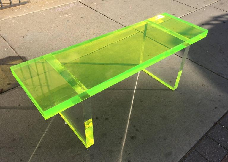 Lime Green Lucite Bench by Cain Modern In Excellent Condition For Sale In West Hollywood, CA