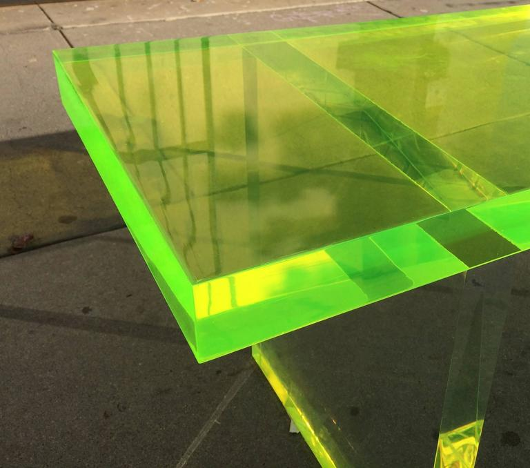 Contemporary Lime Green Lucite Bench by Cain Modern For Sale