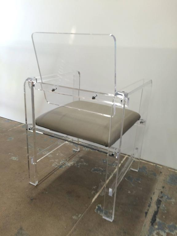 American Set of Six Modern Lucite Armchairs by Cain Modern For Sale