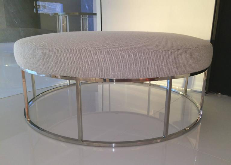 Stunning Custom Designed Round Ottoman With Stainless