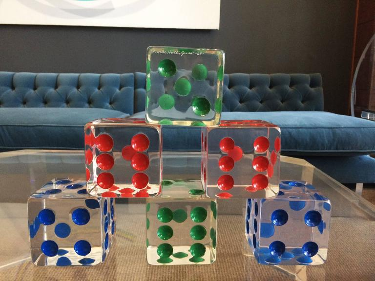 American Oversized Dice Sculpture in Lucite by Charles Hollis Jones, Signed and Dated For Sale