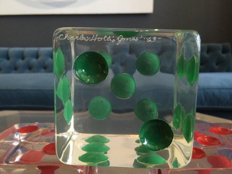 Mid-20th Century Oversized Dice Sculpture in Lucite by Charles Hollis Jones, Signed and Dated For Sale