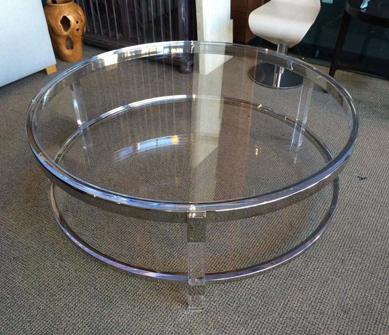 Round Coffee Table In Lucite Nickel By Charles Hollis Jones Metric Collection For Sale At 1stdibs