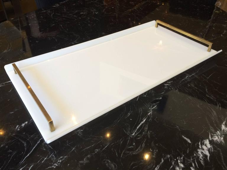 Mid-Century Modern Serving Tray in White Lucite and Brass by Charles Hollis Jones For Sale