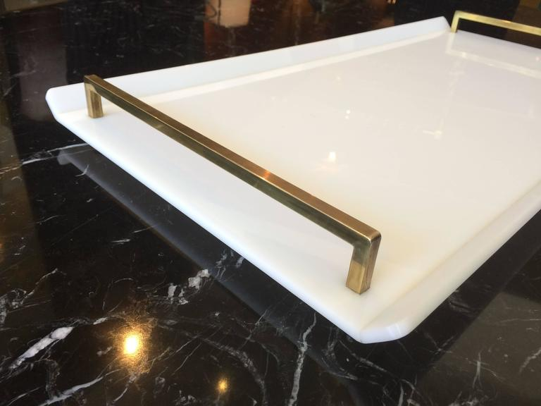 Vintage Lucite and nickel serving tray designed and manufactured by Charles Hollis Jones. The tray is part of the ball collection that was originally created for Lucille Ball and the whole line became to be known as the